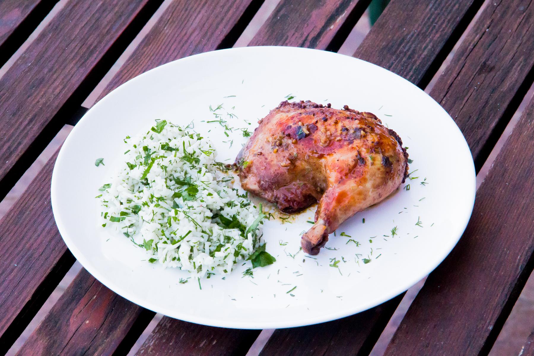 Pečené kuře se studenou bylinkovou rýží