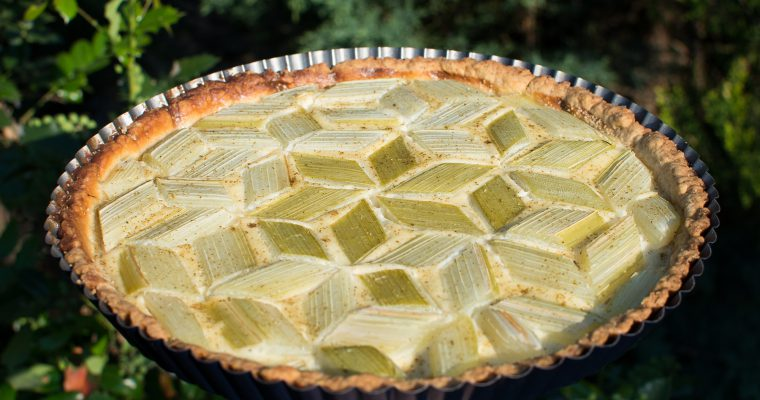 Rebarborový koláč z křehkého těsta